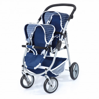 Twin Tandem Doll's Pram (Blue/White)