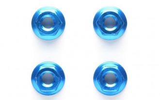 4mm Blue Aluminium Serrated Nut (4)