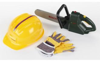 Bosch Chain Saw with sound, Helmet & Work Gloves