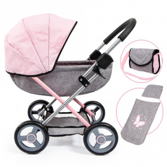 Cosy Doll's Pram with Bag & Accessories (Pink)