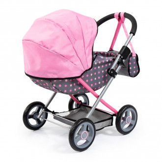 Cosy Doll's Pram with Bag & Accessories (Pink/Polka)