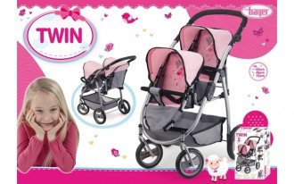Twin Tandem Doll's Pram (Pink/Grey)