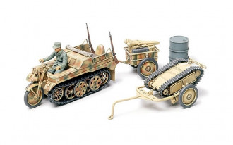1/48 German Kettenkraftrad with Infantry Cart and Goliath Demolition Vehicle
