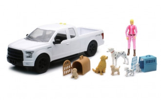 1/14 Ford F-150 (White) with Dog Playset & Figure